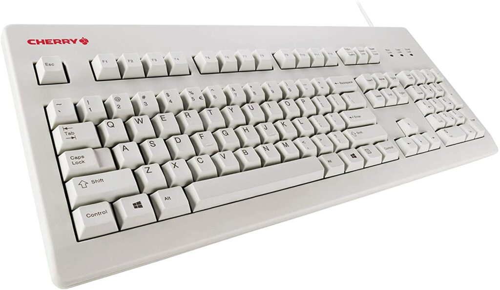 white Cherry mechanical keyboard shown at an angle